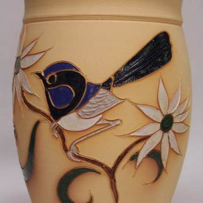 Blue Wren Wine Cooler Unglazed Rim