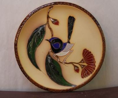 blue wren plate brown rim medium
