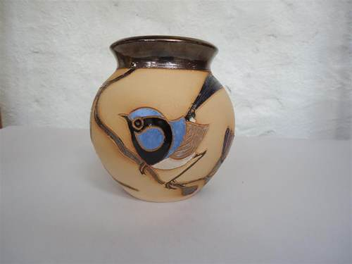 blue wren vase metallic rim small