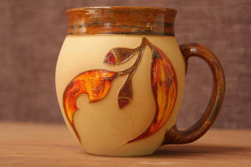 fiery gum leaf ceramic mug