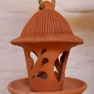 terracotta bird feeder drop design small