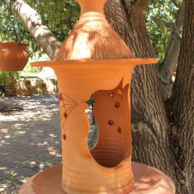 terracotta bird feeder music note design large