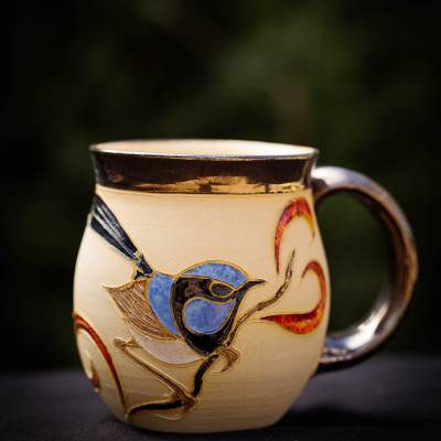 blue wren mug orange
