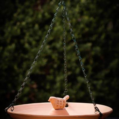 Terracotta Chain Hung Bird Bath